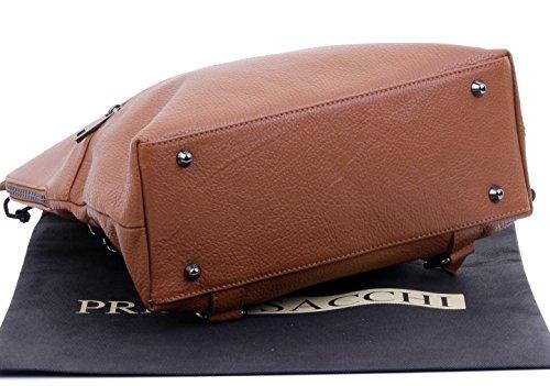 Visite En Línea Barato 2018 Nueva Línea Primo sacchi® top in pelle tessuto maniglia zaino spalla bag. Include borsa di stoccaggio di marca protettiva Dark Tan Envío De La Nueva Llegada P7sxcLCqy