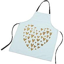 BOYANN Forma del Corazón Impresa Delantales de Cocina Mujer Graciosos, Azul
