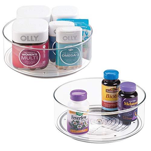 Unbekannt mDesign Drehbarer Kunststoff-Tablett für das Badezimmer, drehbar, für Make-up, Kosmetik, Vitamine, Rasierset, Erste-Hilfe-Zubehör Pack of 2 farblos Countertop Spinner