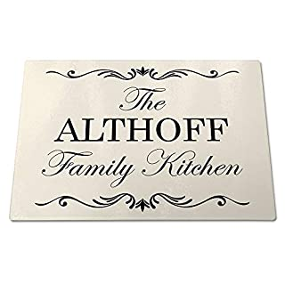 'The Althoff Family Kitchen', Toughened Glass Cutting Board, Personalised Surname, Vintage Style Design, Great Quality, Size 390mm x 285mm x 4mm Approximately