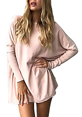Longwu Women's Casual Loose Blouse Bat Sleeve Pullover Tops T-Shirt Pink-L