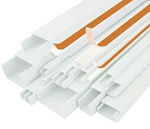10m KABELKANAL StilBest L x B x H 2000x15x10 mm PVC Kabelleiste Weiß Selbstklebend Installationskanal Wand und Decken Montage allzweck für Kabel innen Haus Büro TV Lautsprecher Sat Internet Lan