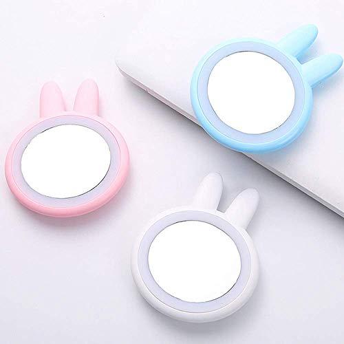 ANLIN Lights Mini-Make-up-Spiegel mit LED-Lichtern, kompakt, tragbar, Micro-USB-Anschluss, wiederaufladbar, niedliches Selfie-Fill blau -