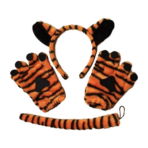 Tiger Animal Print Ohren Haarband Schwanz und Handschuhe Set Kostüm Party Hen Child (Tiger Kostüm Ohren)