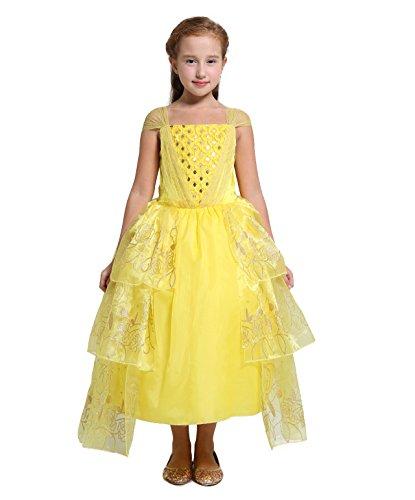 Weihnachten Belle Kostüm - Lito Angels Mädchen Prinzessin Belle Kleid Kostüm Weihnachten Halloween Party Verkleidung Karneval Cosplay Kinder mit Paillette 4-5 Jahre