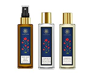 FE Body Mist Rose & Cardamom 100 ml & FE Ultra-Rich Body Lotion,Silkening Shower Wash,Indian Rose Absolute 100 ml