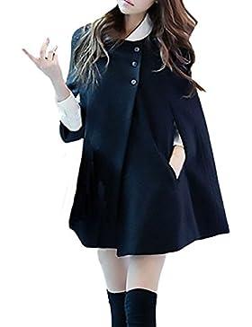 Otoño Invierno Mujer Elegante Batwing Capa Moda Parka Chaqueta Poncho Casual Abrigos Coat Jacket Rebecas Pulóver