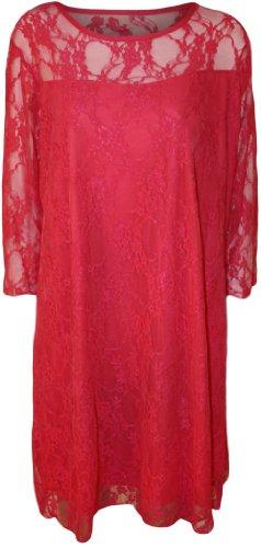 WearAll - Damen Übergröße schnüren Gefüttert knie länge Kleid - 8 Farben - Größe 40-54 Cerise