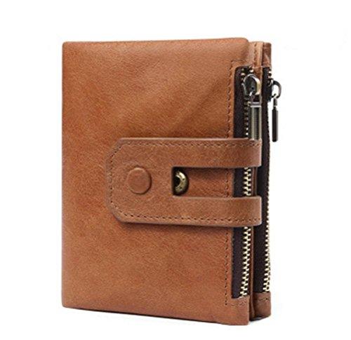 Doppel-brieftasche (ZXH neue Leder Brieftasche Anti-RFID stehlen Mode kurze beiläufige Männer Brieftasche Doppel-Reißverschluss große Kapazität Brieftasche , A)