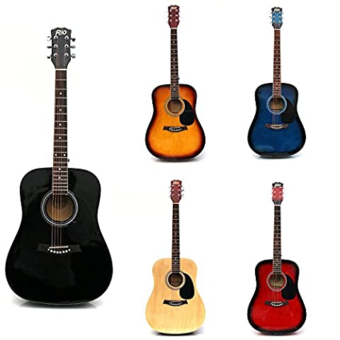 RayGar Black 41'' 4/4 Full Size Acoustic Guitar Package Pack