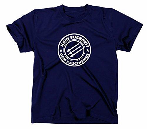 Kein Fußbreit dem Faschismus T Shirt, Die drei Pfeile Logo, gegen, S, navy
