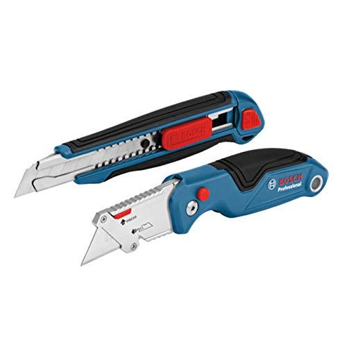 Bosch Professional 2 tlg. Messer Set (mit Universal Klappmesser und Profi Cuttermesser, inkl....