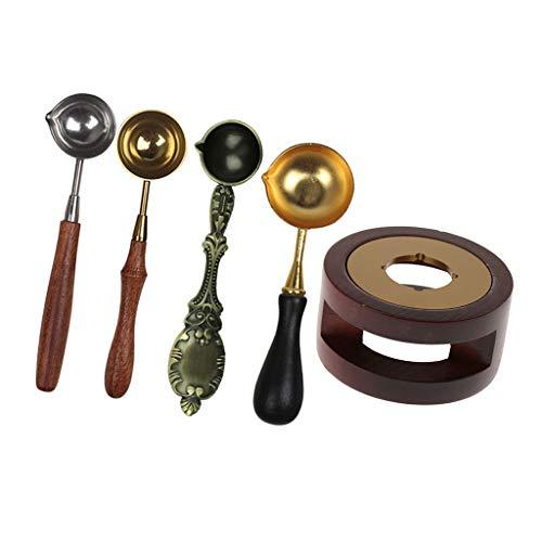 B Baosity Horno De Fusión De Cera Set Arts Spoon Sealing Tool Sticks Stove Pot W / 4 Spoons