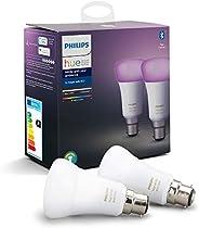 Philips Hue Pack de 2 Bombillas Inteligentes LED B22, con Bluetooth, Luz Blanca y Color, Posibilidad de Contro