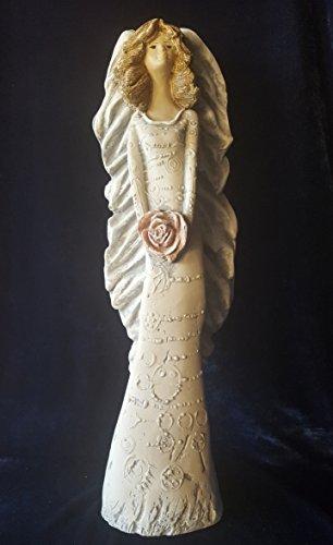 Engel Engelsfigur große Figur XXL 46cm hoch Tonfigur Engelchen Schutzengel Rose Ornamenten im Kleid - Dekoration Weihnachten- Geschenk Hochzeit, Taufe, schützende Aufmerksamkeit, Zeichen der Liebe