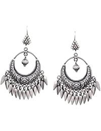 Ahilya Jewels Silver Stud Earrings for Women (Silver)(AER17140-00SNAB)