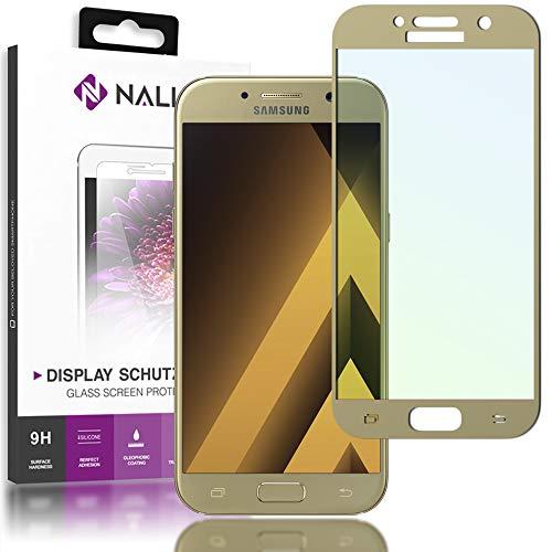 NALIA Schutzglas kompatibel mit Samsung Galaxy A3 2017, Full-Cover Bildschirmschutz Handy-Folie, 9H gehärtete Glas-Schutzfolie Display-Abdeckung, Schutz-Film Clear HD Screen Protector, Farbe:Gold