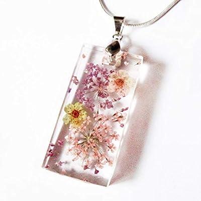 Pendentif Olympe bijou nature en fleurs, résine et argent - Bijou végétal Collier de fleurs séchées