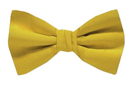 BuyYourTies PBT-ADF-18 Herren Fliege, vorgebunden, formelle Smoking-Fliege, einfarbig, einfarbig Gold Satin Cummerbund