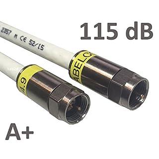 Kab24® HQ Antennenkabel Schirmung > 115 dB EN 60966-2-6 Klasse A+ mit beidseitigen Kompressionssteckern (10m, F-Stecker Gewinde <> F-Stecker Gewinde)
