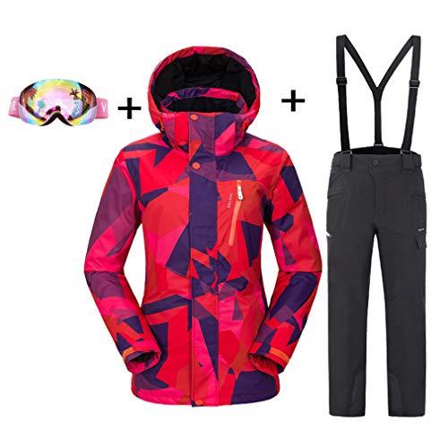 QZH Los Pantalones de Chaqueta de Traje de esquí para Mujer Incluyen Gafas Protectoras, Traje de esquí con Capucha de Invierno, Camisa Impermeable cálida, Mono Grueso a Prueba de Viento,Negro,M
