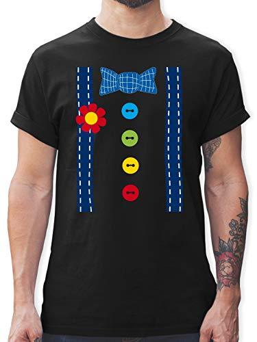 (Karneval & Fasching - Clown Kostüm blau - 3XL - Schwarz - L190 - Herren T-Shirt Rundhals)