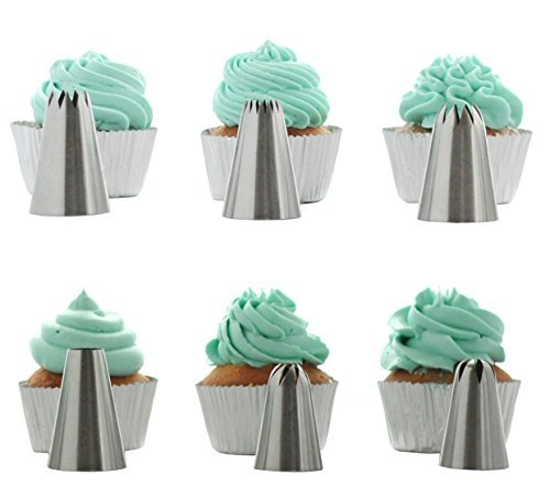 BeBeFun 304 Stainless Steel Extra-Large/ Jumbo Classical Cup Cake Piping Icing Decoration Tips Set. Include French Tip/ Round Tip/ Open Star Tip/ Close Star Tip/ Cyclone Tip/ Rose Tip. by BeBeFun Open Star Tip