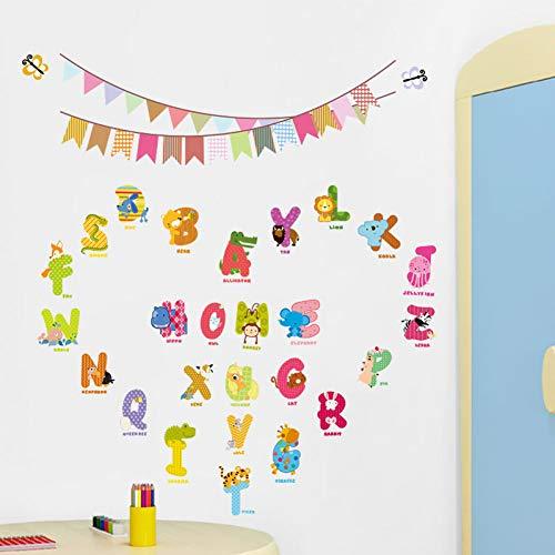 VERYWAN Wandaufkleber Kinder Geschenk EinImal Buchstaben Zeichen Wandaufkleber Flagge Kindergarten Kinder Geburtstag Dekoration Wandtattoos Alphabet Logo Dschungel wild