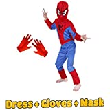Baby & Sons Complete Spiderman Costume + Gloves + Mask Superhero Costume (7-8 Years)