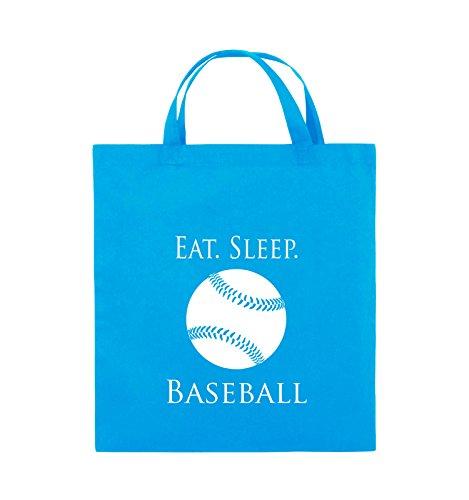 Comedy Bags - EAT. SLEEP. BASEBALL - BALL - Jutebeutel - kurze Henkel - 38x42cm - Farbe: Schwarz / Pink Hellblau / Weiss