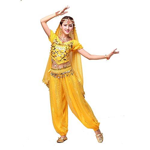 Bauchtanz Tribal Tanz Outfits Tanzkleidung Bauchtanz Kostüm Set Indischer Tanz Top & Paillette Bauchtanz Hose (Indische Frauen Kostüme Für Halloween)