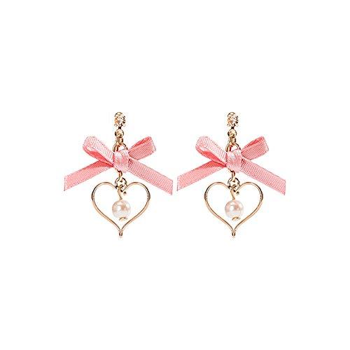 Classic quality Maravillosamente joyeria Pajarita oreja caida, el amor colgantes aretes de clip de oreja :tamano 2.5cm Rosa