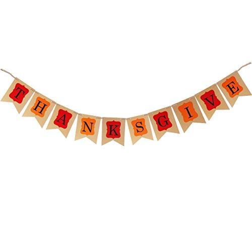 OULII Thanksgiving Bannière Kraft Fête de la fête de Thanksgiving décoration fête drapeau Garland