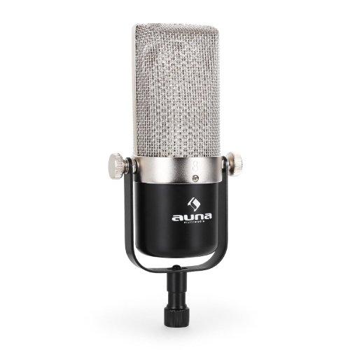 auna HRM-2 Profi Studio Mikrofon Bändchenmikrofon für Vocal- und Instrumentenaufnahmen Aluminium Bändchen XLR-Anschluss justierbarer Haltebügel mit Stativgewinde Transportbox silber