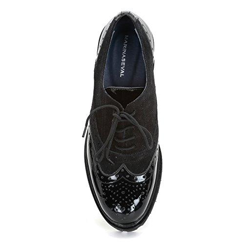 MARINA SEVAL by Scarpe&Scarpe - Chaussures à lacets bi-matière et fond ultra-léger, Chaussures Plates Noir