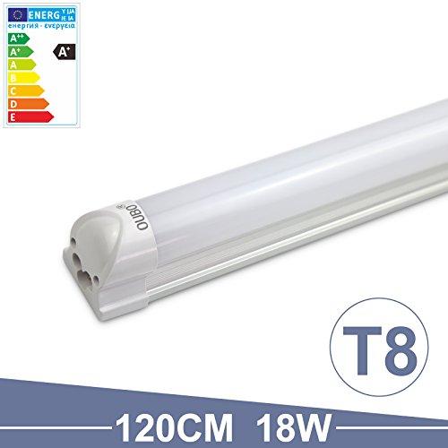 OUBO 120cm LED Leuchtstoffröhre komplett Set mit Fassung kaltweiss 6500K 18W 1700lm Lichtleiste Unterbauleuchte Küchenlampe Schrankleuchte Deckenleuchte led strip