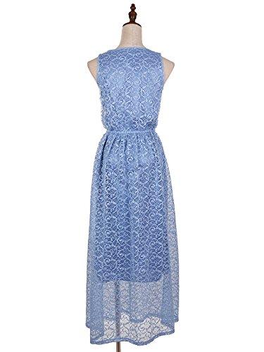 anna-kaci pour femme Motif dentelle florale sangle extensible taille maxi robe sans manches Bleu