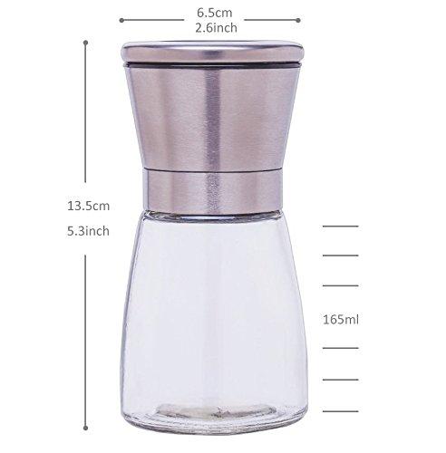 _ Cadrim macinatori sale e pepe in acciaio inox e corpo in vetro confezione da 2 macinatori, 1 sale e 1 pepe. prezzo