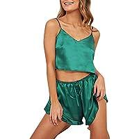 LILICAT Vestido de casa de Pijamas con Eslinga para Damas, Lencería Sexy para Mujeres Ropa de Dormir Satén Seda Babydoll Lace Up Pijamas Conjunto (Rosa Vino Rojo Negro Azul Azul Verde)