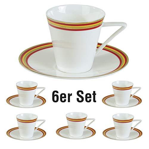 Nikki da Roma Confa Colori Kaffeetassen 6er-Set. Fine Bone China Porzellan. Echte Goldauflage....
