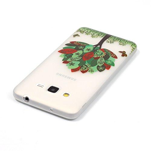 CaseHome Samsung Galaxy Grand Prime G530 Luminous Hülle (Mit Frie Displayschutzfolie) Leuchtende Silikone Rückhülle Für iPhone 6 6s Plus 5.5 Zoll Zoll Silikon Etui Handy Hülle Weiche Transparente Lumi Bunte Blätter Schmetterling