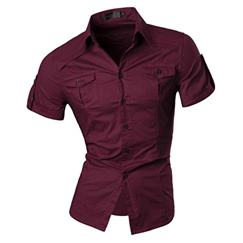 jeansian Homme Chemises Casual Manche Courte Shirt Tops Mode Men Slim Fit 8360 WineRed