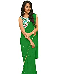 OSLC Green Saree Latest With Designer Blouse Beautiful For Women Party Wear Sadi Offer Sarees