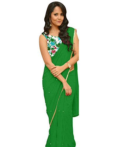 OSLC Green Saree Latest With Designer Blouse Beautiful For Women Party Wear...