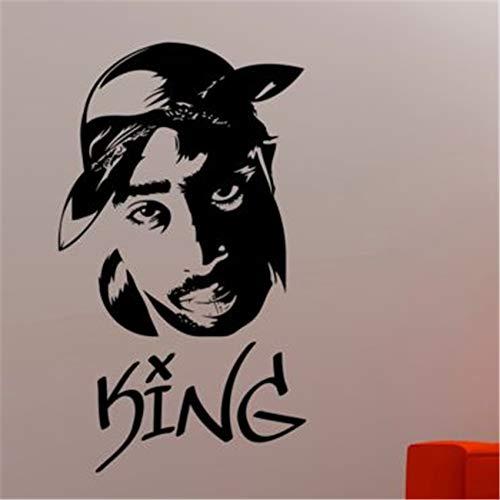 zqyjhkou Tupac Wall Decal 2pac Vinyl Aufkleber Hip-Hop Art Decor Modernes Design Wall Decor D921 58 X 33 cm -