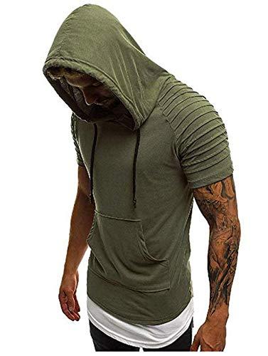 Herren T-Shirt Slim Fit Casual Hoodie Kurzarm Shirt Kapuzenpullover Kordelzug Sweatshirt für Männer (Armeegrün, XL)