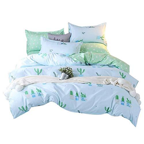 Luo-401XX Bettbezug Set, Fresh Cactus Pattern Design Bettwäsche Bettbezug Kissenbezüge Mit Reißverschluss Bettwäsche Set Grün Königin -