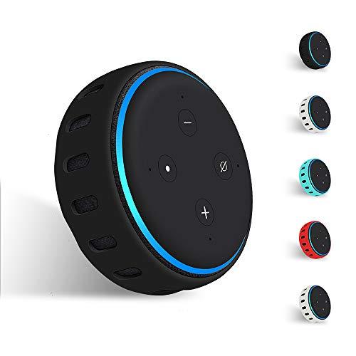 Hydream Silikon Schutzhülle für Echo Dot (3. Gen.) Smarter Lautsprecher, Leichte rutschfeste Stoßfeste Sprecher Silikonhülle Cover Hülle (Schwarz)