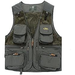 YAN Chaleco de Abrigo para Hombre, Polycotton Country Clothing Fotografía Acampar Caza Pesca Senderismo Chaleco de Trabajo (Color : 3, Tamaño : L)