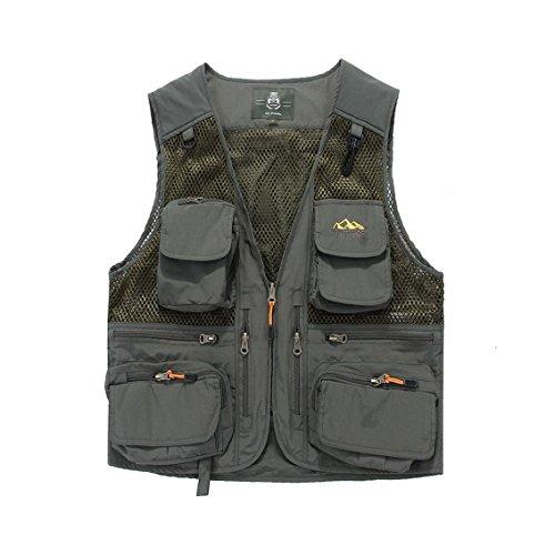 YAN Herren Gilet Oberbekleidung, Polycotton Land Kleidung Fotografie Camping Jagd Angeln Wandern Arbeitsweste (Farbe : 3, Größe : L)